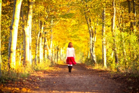 Girl walking away in the autumn avenue of trees.